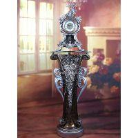 高端别墅样板间树脂欧式镶钻玫瑰带摆座钟摆件(套)SBJ637Y