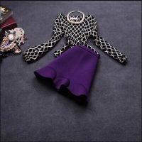 2014秋冬新款欧美格子套裙两件套套装连衣裙1726