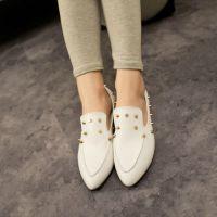 2014新款欧美舒适百搭尖头平底鞋女鞋柳钉浅口平跟单鞋孕妇妈妈鞋