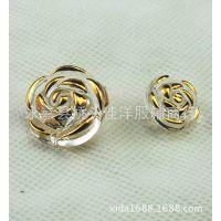 透明花朵-镶金边-水晶扣 【高品质亚克力】ABS塑料材质纽扣