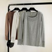 秋冬新款韩版修身简单款打底衫磨毛拉架弹力 烫砖打底衫