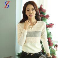 2014韩版秋冬新款女装t恤长袖蕾丝百搭上衣针织秋季打底衫