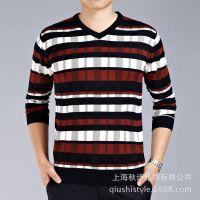 2014男装秋冬款男式撞色条纹毛衣外套韩版潮针织衫 男士打底衫