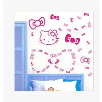 凯迪猫创意蝴蝶结卡通可爱装饰卧室电视床头背景玻璃墙贴 墙纸