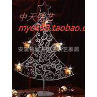 圣诞树铁艺烛台/铁艺壁挂式烛台/装饰铁艺烛台/五盏烛台