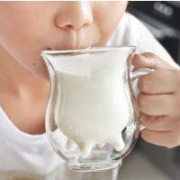 双层牛奶玻璃杯 创意杯子 水杯 双层玻璃杯 咖啡杯 耐热牛奶杯