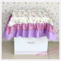 批发供应 紫色 苏菲公主格子边台布桌布多用巾万能盖巾 床头柜罩