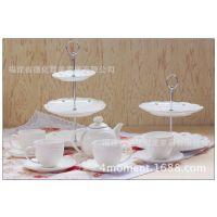 欧式创意二层陶瓷糖果盘 多层糕点串盘蛋糕盘点心盘月饼盘水果盘