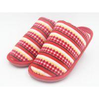 厂家直销秋冬季新款时尚棉拖鞋 彩色条纹拖鞋居家室内拖鞋女拖鞋