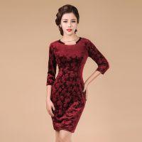 新款金丝绒圆领显瘦修身优雅系列铅笔裙 高档奢华大牌连衣裙