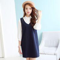 HGG8307模特实拍 韩国秋冬新款毛呢背心裙2件套 毛呢连衣裙