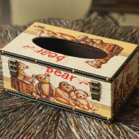 美式乡村风方形纸巾盒家居餐巾纸盒纯手工木制皮质小熊款小额混批