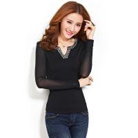 韩版女装秋季新款名媛蕾丝衫打底衫一件代发 修身气质优雅蕾丝衫
