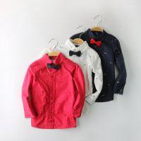欧美潮范童衬衫 15春季新款男童胡子印花蝴蝶结绅士衬衣男童衬衣