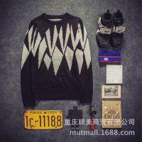 一件代发韩版圆领几何图案长袖休闲男装毛衣针织打底衫网店代理