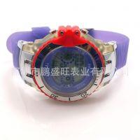 工厂直销透明塑胶带光和温度计功能 圆形表盘 高档多功能电子手表