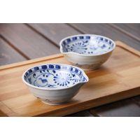 日本进口手绘唐草斗碗小菜碗酱汁碗怀石料理餐厅陶瓷碗钵餐具
