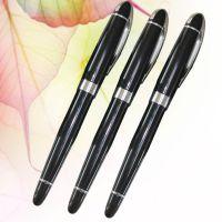 【厂家直销】黑色高档金属外壳中性签字笔可定制logo广告水笔批发