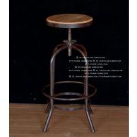 美式仿古做旧实木铁艺吧台椅高脚椅旋转升降椅子前台椅酒吧休闲椅