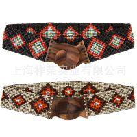 厂家定做串珠腰带 皮带串珠 编织米珠腰带 珠编腰链 手工织珠腰带