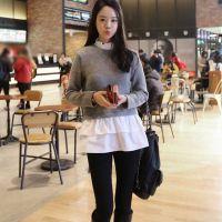 现货新款羊毛打底衫女装假两件韩版荷叶边中长款修身针织衫