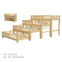 幼儿园多层推拉床 儿童午睡小床 樟子松木头床 原木四层推拉床