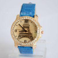 2014爆款时尚女士手表 埃菲尔铁塔鳄鱼纹皮革石英手表 镶钻腕表