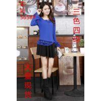 2014秋装新款韩版大码修身V领蕾丝衫上衣打底衫