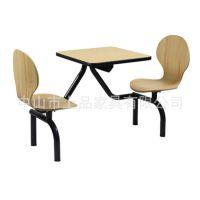 厂家直销供应[SP-LT331]板式双人位食堂餐桌椅 时尚连体快餐家具