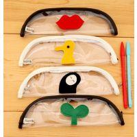 厂家直销 玩味潮趣可爱透明防水PVC简约笔袋 创意铅笔盒防水筆袋