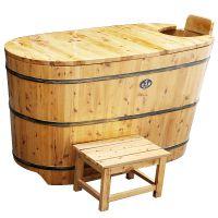 高档FJ03-带盖金香韵柏木泡澡桶 沐浴桶 香柏木熏蒸洗澡两用浴桶