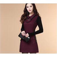 2014新款秋冬韩版女装修身针织长袖毛呢气质连衣裙
