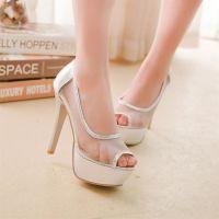 供应2014外贸新款凉鞋 欧美性感蕾丝鱼嘴鞋 时尚网纱高跟鞋 免费代理