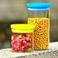 新款推荐 塑料盖玻璃密封罐 玻璃瓶储物罐大号糖果罐花茶罐茶叶罐