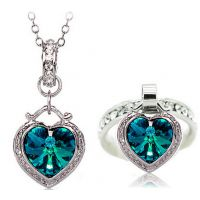 速卖通爆款升级版海洋之心水晶戒指项链套装1293-110(2色入)