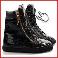 Giuseppe Zanotti gz男鞋黑色石头纹真皮高帮鞋 休闲鞋潮流男板鞋