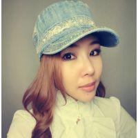 特价直批加工定做外出必备防晒透气牛仔网帽|韩版时尚蕾丝平顶帽