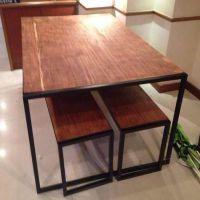 欧式铁艺家用餐桌 咖啡厅餐厅饭店实木桌椅套 办公会议桌批发