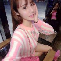 高级定制韩国东大门代购秋冬新款芭比粉嫩条纹中长款毛衣连衣裙