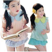 特价韩版雪纺小翻领T恤格子短裙儿童套装 2014夏季新款女童套装
