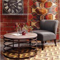 厂家直销 美式实木圆形小茶几 复古做旧铁艺防锈小茶几 实木圆桌