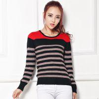 秋冬新款羊绒衫女条纹圆领套头针织衫韩版修身打底衫长袖短款毛衣