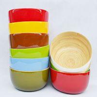 巨匠厂家定制天然环保日式出口彩色竹碗沙拉碗盘