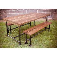 可定做 美式乡村餐桌椅组合创意水管桌椅实木桌子复古做旧桌饭桌