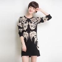 批发2014秋冬新款 中长款羊绒衫 韩版长袖修身提花打底衫