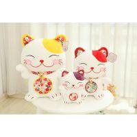 日本和风系列招财猫毛绒玩具公仔 多尺寸多色