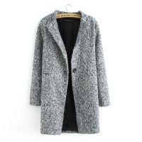 2014秋冬季新款欧美时尚千鸟格粗花昵大码加棉大衣外套女毛呢外套