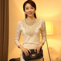 2014秋装新款女装衬衫  韩版珠宝装饰优雅蕾丝打底衫长袖上衣