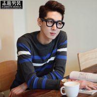 2013新款韩版男士T恤 长袖t恤 男 长袖打底衫男 条纹修身t恤T166