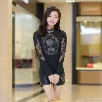 实拍2014韩版蕾丝拼皮贴布美人图像修身显瘦打底衫